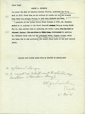 Robert Heinlein extremely important grouping of letters and a 1 page manuscript