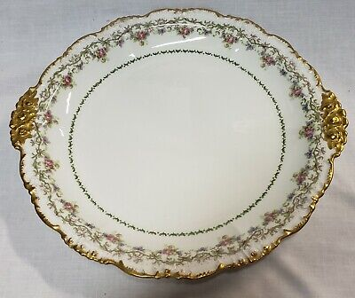 Vtg. J.Pouyat Limoges France Platter Serving Plate Pink Blue Floral gold edge