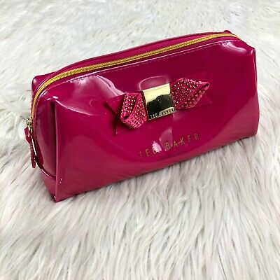 ac2bd97236 Ted Baker Pink Patent Rhinestone Bow Makeup Bag Case Gold Hardware