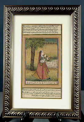 Antique Indo-Persian Miniature Painting Manuscript + Text 19th C or Earlier