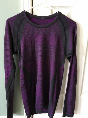 d940679cac0dc9 Lululemon Womens Violet Black About That Base Long Sleeve Top Size 6 very  good