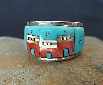 Sterling Silver Turquoise, Spiny Oyster, MOP Micro Inlaid Ring Size 7 1/2 -Nice!