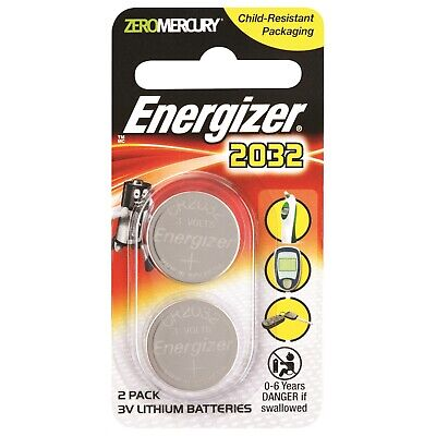 NEW Energizer CR2032 3V Lithium Battery 2 Pack 2032 Thermometer Calculator Watch