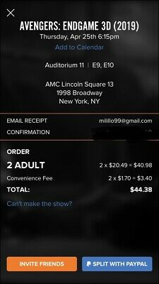 AVENGERS: ENDGAME Premier Tickets (2) AMC Lincoln Square NYC 3D Reserved Seats