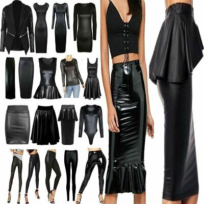 Womens Wet Look Pvc Leather Bodycon Dress Mini Skirt Tunic Top Leggings Lot