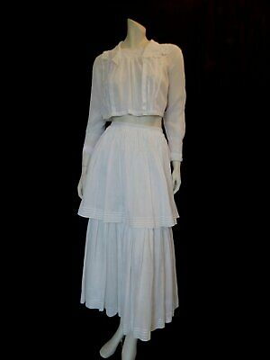Edwardian Tiered White Cotton Skirt - Antique Clothing - Extra Small