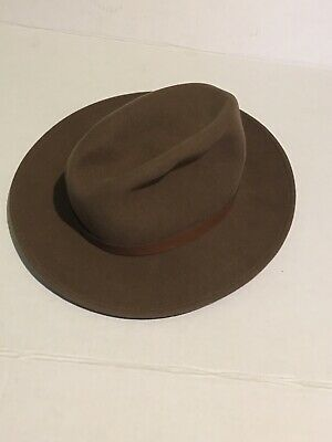 ed9da4dbeace3 Vintage Pendleton Men Brown USA Wool Wide Brim Fedora Hat Size L Virgin Wool  VTG