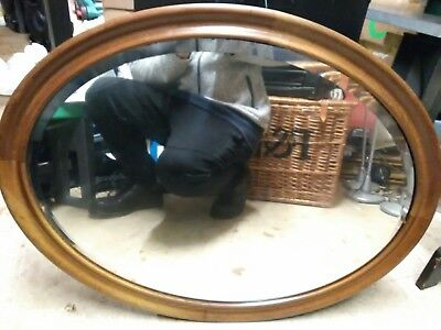 Large Vintage (Antique?) Oval Shaped Wooden Framed Mirror With Bevelled Edge