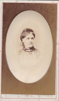 Old Vintage Photo Cdv Woman Fashion Jewellery Hedges Lytham St Annes At1