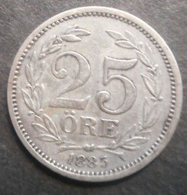 Sweden  1885 25  Ore Silver Coin Better detail & grade
