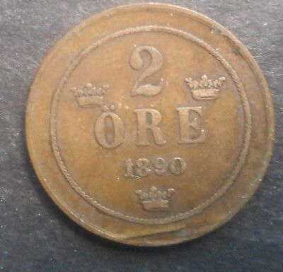 Sweden  1890 2  Ore Coin Nice   Better Grade