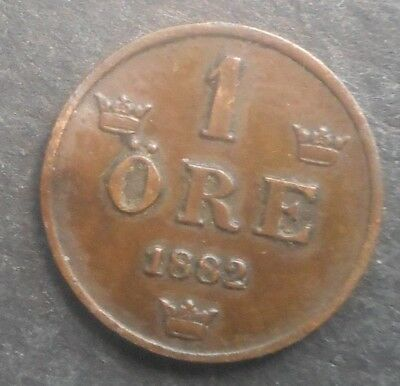 Sweden  1882  Ore Coin Nice  better   Grade Fan Flaw Error