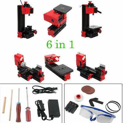 6in1 Micro Lathe Machine Jigsaw Milling Drilling Sanding Wood-turning Machine