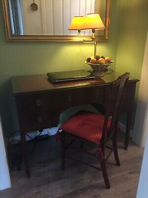 Regency style writing desk with drawers leather top with glass