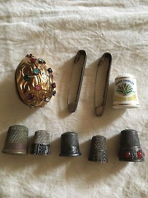 Vintage Figural Gilded rhinestone Walnut Sewing Kit and Thimbles