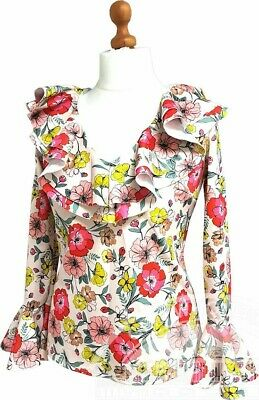 Size 8.womens Ladies Summer Ruffle  Floral Print Top Frill Neck By Very New