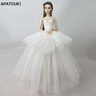 "Pure White Fashion Clothes For 11.5"" Doll Dress Multi-layer 1/6 Wedding Dresses"