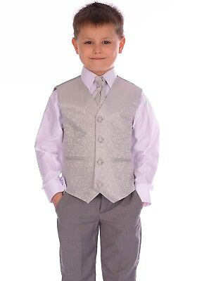 Boys Suits Silver Swirl & Grey Trousers 4pc Suit pageboy formal wedding
