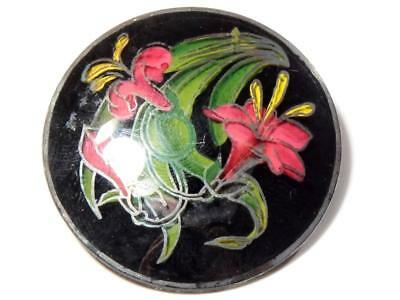 Antique Czech Victorian reverse hand painted pink lily flower glass pin brooch