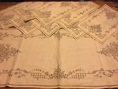 Vintage Table Linen Runner & 8 Napkins/place Mats