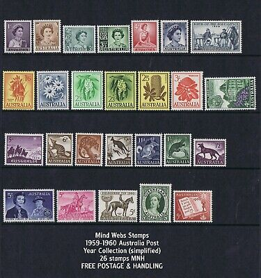 Australian Pre-Decimal Stamps 1959 - 1960 Year Set (26) all MNH SET B