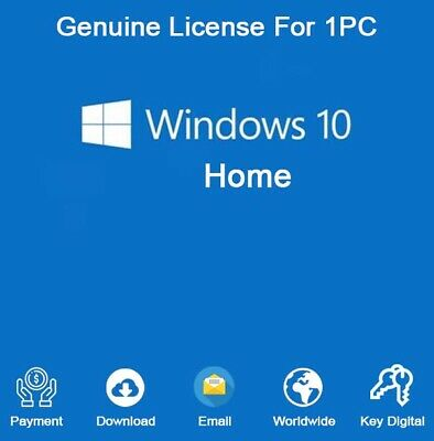 Windows 10 Home 32/64 Bit Product Key Activation For 1 PC Genuine