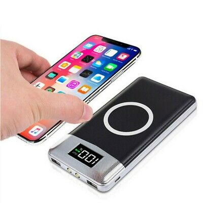 50000mAh Power Bank Qi Wireless Charging 2 USB Port LED Torch Battery Charger