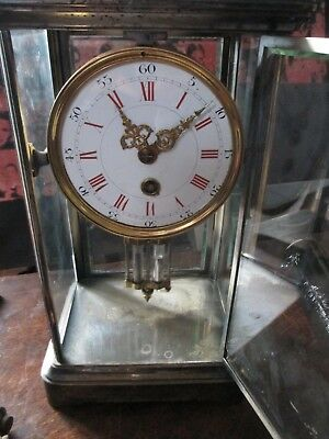 Antique Silver Plated Four Glass Clock