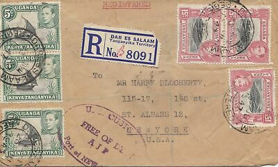 Uganda: 1947: Regiestered Dar Es Salaam to New York - Free of Duty