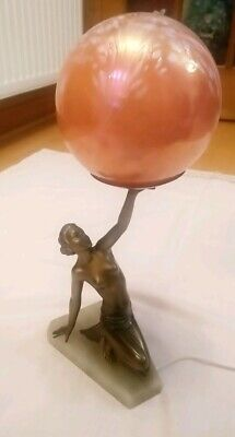 Art Deco original gilded spelter lady lamp