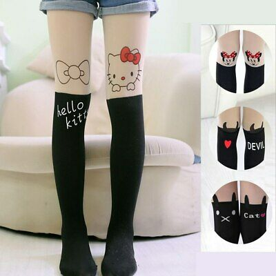 Baby Girls Cute Cartoon Tights Hello Kitty Bear Cat Minnie Devil UK Seller