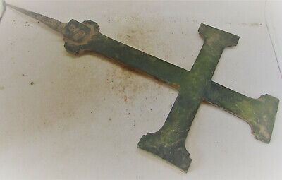 Scarce Ancient Byzantine Bronze Cross Icon With Iron Fitting Religious Ward 25Cm