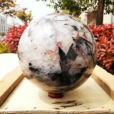 3523G Natural black Hair Rutilated Tourmaline quartz crystal sphere ball Healing