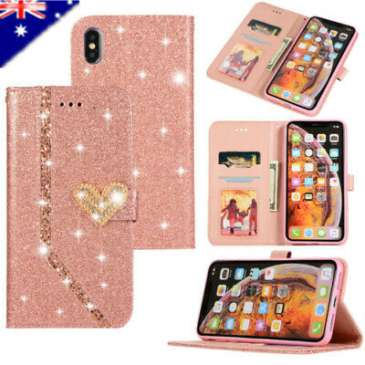 Bling Glitter Sparkly Leather Flip Wallet Case Cover For iPhone 7 Plus XS Max XR