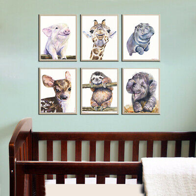 FREE SHIPPING. Set for nursery with cute watecolor baby animals. Decor for baby.