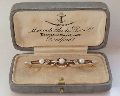 Stunning Antique Edwardian 9ct Gold Pearl & Diamond Brooch c1910 in Fitted Case