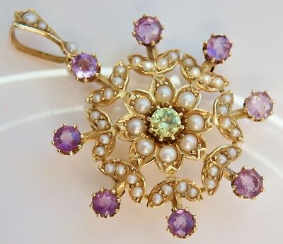 Antique Edwardian Suffragette 15ct Gold Peridot Amethyst & Pearl Pendant c1910