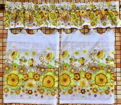 UNUSED VINTAGE 60's 70's Retro GROOVY FLORAL CAFE CURTAIN SET Kitchen YELLOW