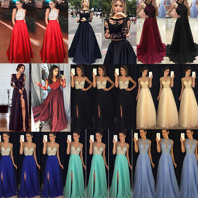 Women Ladies Formal Wedding Bridesmaid Evening Party Ball Prom Gown Long Dress