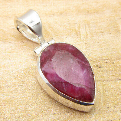 "925 Silver Overlay High End Simulated Ruby UNUSUAL DROP SHAPE Pendant 1.2"" NEW"