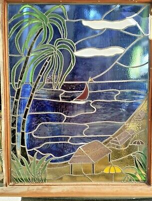 """Stunning Stained Glass Window sea,sailing boat, palm trees, beech 3f 1"""" x 3f 11"""""""