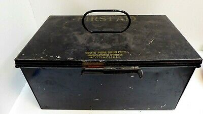 Antique Boots Pure Drug Company First Aid Tin Nottingham Metal Box Cabinet