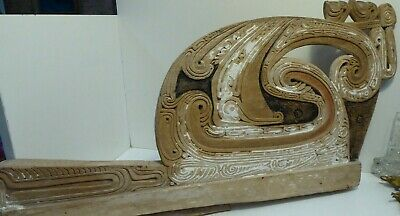Antique Pacific Island Hand Carved Canoe Prow Ochre Pigment