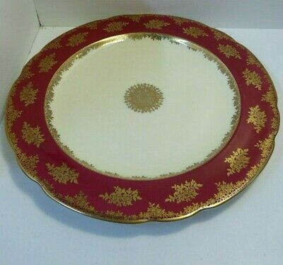 Antique Paragon Rouge Gilt Decorative Charger Plate Platter Hm Queen Mary G73001