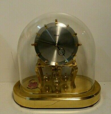 Vintage Kundo 400 Day Glass Dome Clock German Keninger & Obergfell