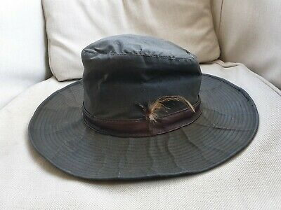 Barbour Waxed Cotton And Leather Khaki Green Fishing Game Hat Size M