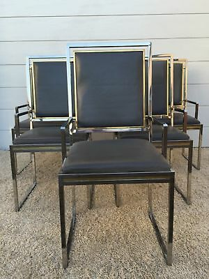 SIX Maison LEATHER Chairs Rizzo Brass Armchairs Jansen Cidue Charles Crespi Rega