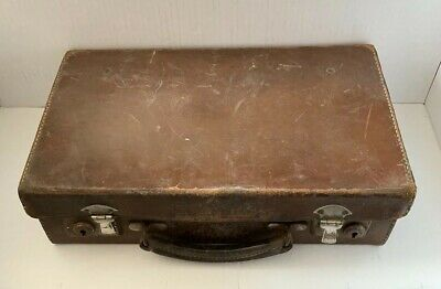 Vintage Childs Brown Leather Suitcase 14x9x4 Inches Nice Item