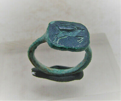 Ancient Roman Bronze Seal Ring With Legionary Stag On Bezel