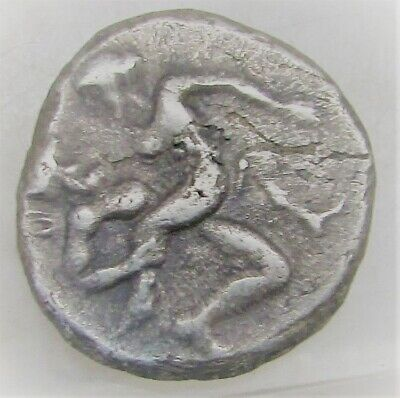 Ancient Greek Silver Stater Satyr And Nymph Ityphallic Scene